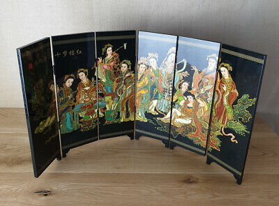 Chinese Painted Lacquer Geisha Girls Six Panel Screen Display Item, Vintage