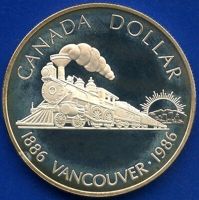 1986 Canada Proof Silver Dollar Coin (Vancouver 100th) 23.33 Grams .500