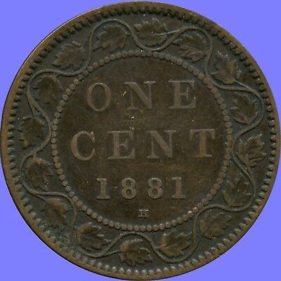 """1881 """"H"""" Canada Large Cent Coin"""