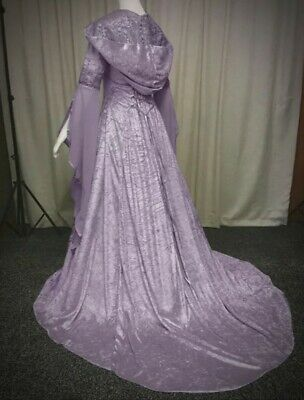 New Purple Gothic Medieval Velvet Hooded Corset Gown Robe Dress size 2XL 18 20