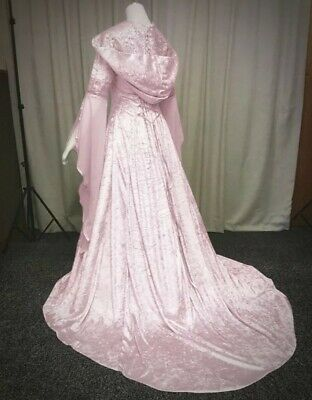 New Pink Gothic Medieval Velvet Hooded Corset Gown Robe Dress size 2XL 18 20 22