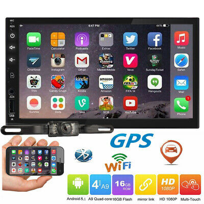 """Android 8.1 Double 2Din 7"""" Car Stereo No-DVD GPS NAV Bluetooth Wifi USB SD AUX"""