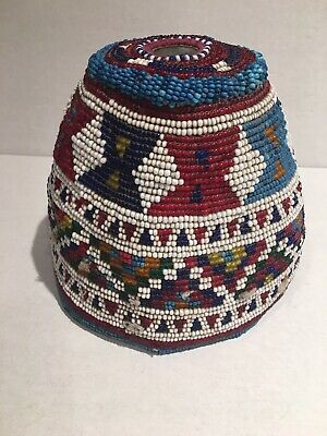 RARE ANTIQUE ASIAN or MIDDLE EASTERN BEADED WOMAN HAT