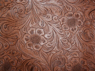 "**VINYL** BROWN Western Floral Faux Leather 20""x27"" #7551"