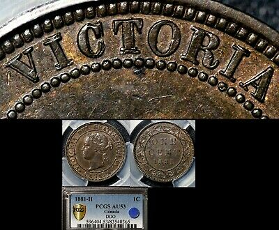 ELITE VARIETIES CANADA Large Cent 1881H Heavy Punch Doubling - PCGS AU53 (a343)