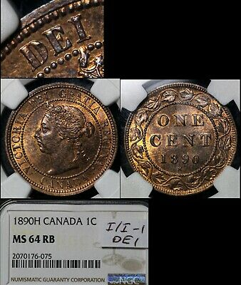 ELITE VARIETIES CANADA Large Cent 1890H Repunched I/I DEI - MS64RB (a402)