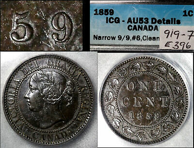 ELITE VARIETIES CANADA Large Cent 1859 Repunched 9/9 Haxby E39b - AU53 (a334)