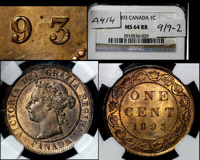 ELITE VARIETIES CANADA Large Cent 1893 Repunched 9 - NGC MS64 (a414)