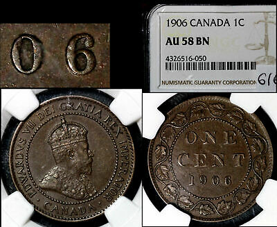 ELITE VARIETIES CANADA Large Cent 1906 Repunched 6/6 AU58 VERY RARE (a443)