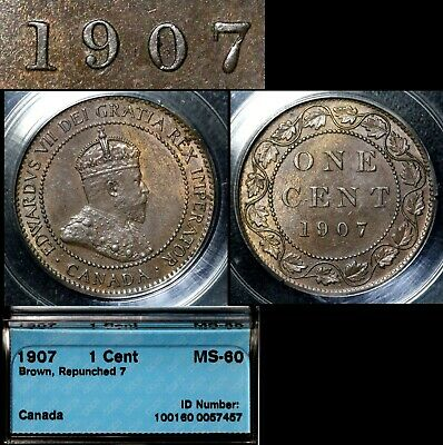 ELITE VARIETIES CANADA Large Cent 1907 Repunched 7/7 Rt/Lt - MS60 RARE (a450)