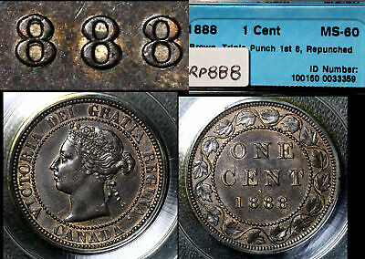 ELITE VARIETIES CANADA Large Cent 1888 Repunched 888 - CCCS MS60 (a382)