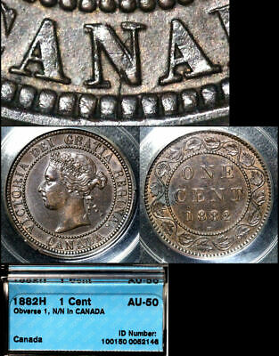 ELITE VARIETIES CANADA Large Cent 1882H Repunched N/N CANADA - AU50 (a371)