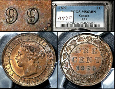 ELITE VARIETIES CANADA Large Cent 1899 Triple Punched 9 PCGS MS63 (a440)