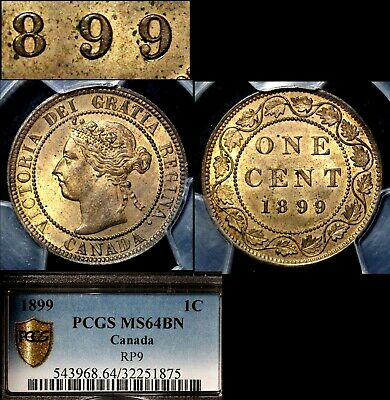 ELITE VARIETIES CANADA Large Cent 1899 Repunched 9/9 PCGS MS64 (a436)