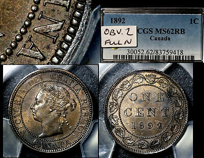 ELITE VARIETIES CANADA Large Cent 1892 Obverse 2 Repunched N - PCGS MS62 (a406)