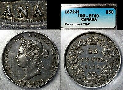 ELITE VARIETIES CANADA 25 cents - 1872H Repunched N/N CANADA - EF40 (a526)
