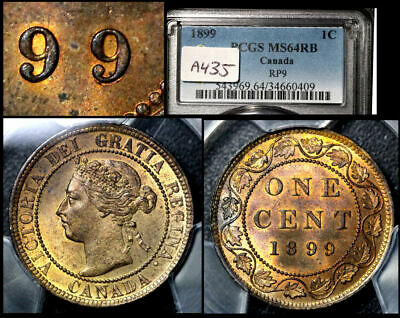ELITE VARIETIES CANADA Large Cent 1899 Repunched 9/9 PCGS MS64 (a435)