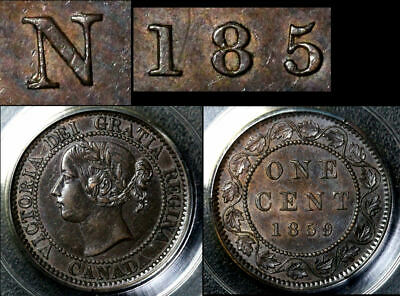 ELITE VARIETIES CANADA Large Cent 1859 Repunched N CENT RP185 - AU55 (a340)