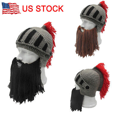 74a7cae9d ROMAN HELMET BARBARIAN Knight Brown Thermal Knit Beard Ski Mask With ...