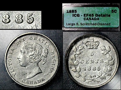 ELITE VARIETIES CANADA 5 cents - 1885 Small Repunched 5/5 Type 2 (a458)