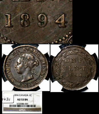 ELITE VARIETIES CANADA Large Cent 1894 Thick 4 - NGC AU53 (a431)
