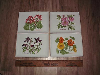 1984  LILLIAN  VERNON  FLORAL CERAMIC 4 TRAYS trinket jewelry change dish flower