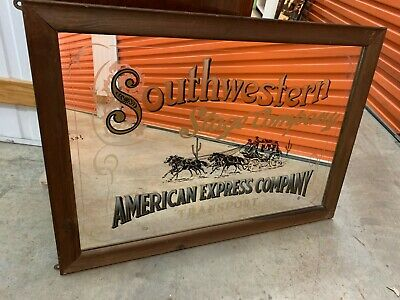 Vintage Americana 'South Western Stage Co' Man Cave Bar Cedar Framed Mirror 88cm