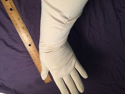 Vintage long ladies dress gloves, ruched, ivory, size 7, preowned