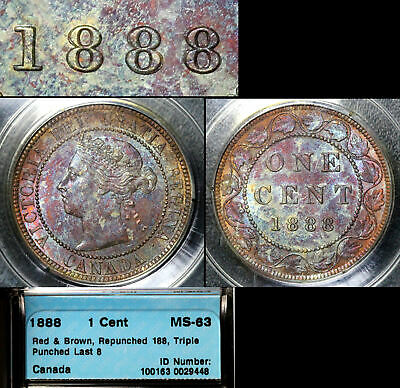 ELITE VARIETIES CANADA Large Cent 1888 Last 8 Repunched 8/8 - CCCS MS63 (a387)