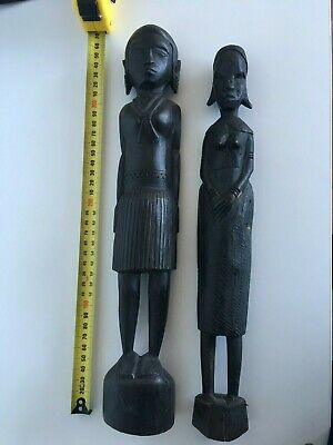 Vintage Pair Of African Wooden Hand Carved Figures Man & Woman Tribal Art 36cm