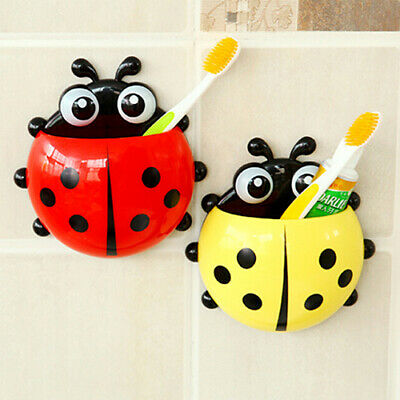 Charming Cartoon Ladybug Sucker Suction Hook Tooth Brush Holder For Kids pretty