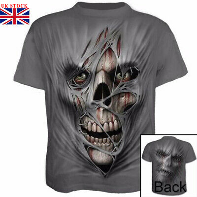 Fashion 3D Printed Men's T-shirt Clothing Casual Short sleeve silk Tops Skull UK