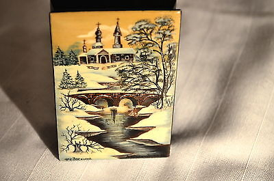 Antique Fedoskino ( Russia ) Artist Signed  Hand Painted Wooden   Laquer Art.
