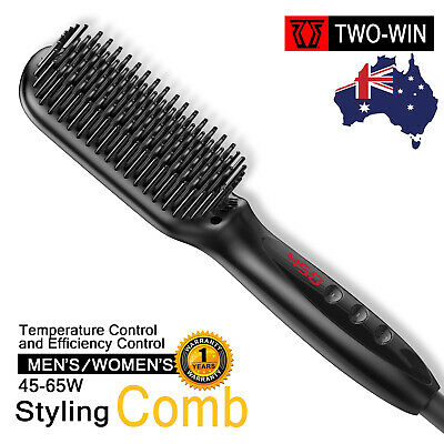 Electric Quick Heating Hair Brush Straightener Beard Styling Comb Curling Show