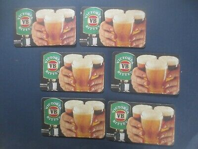 6 different VICTORIA BITTER long Issued .collectable BEER COASTERS