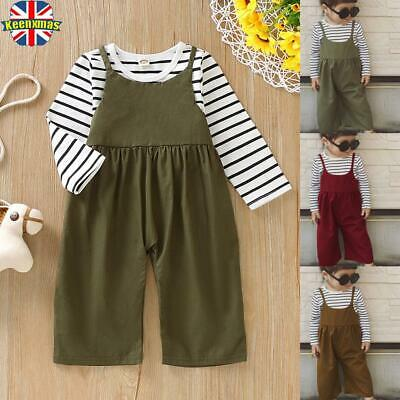 Toddler Kids Girl Striped T-shirt Overalls Dungarees Jumpsuit Clothes Outfits