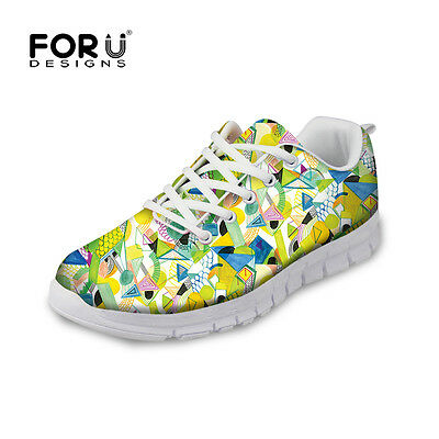 Cool Floral Women Lace Up Mesh Sport Shoes Girls Rinning Sneakers Casual Trainer