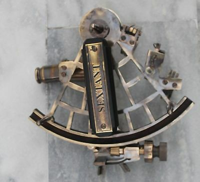 """9"""" Solid Brass Antique Sextant ~Vintage Reproduction Sextant Nautical."""