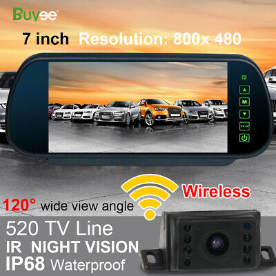 "Wireless Car Rear View Kit 7"" Mirror Monitor + IR Night Vision Reversing Camera"