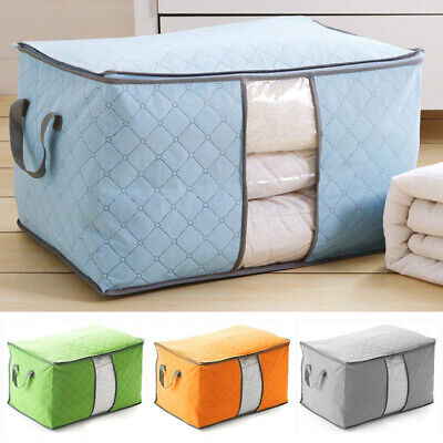 Clothes Quilt Blanket Bamboo Storage Bag Charcoal Organizer Foldable Zipper Box