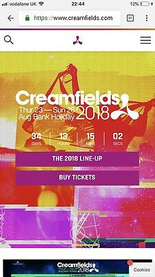 Creamfields 2018 4 Day Bronze Camping Ticket