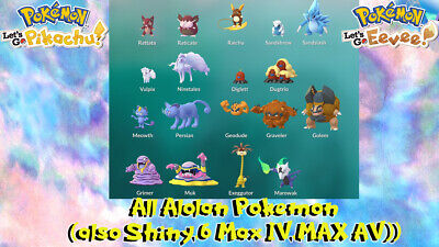 Pokemon Lets Go Pikachu and Eevee 18 MAX IV/aV Shiny Alolan pokemon battle ready