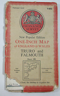 1946 Old OS Ordnance Survey one-inch map New Popular Edition 190 Truro Falmouth