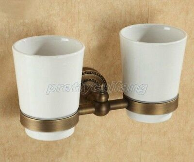 Antique Brass Bathroom Double Tumbler Cup Holder Toothbrush Holder Pba088a