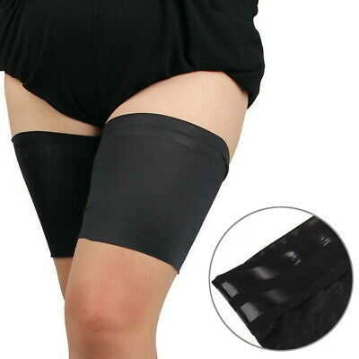Black Pair Anti Chafing Thigh Bands Elastic Non Slip Leg Comfort Running Sports