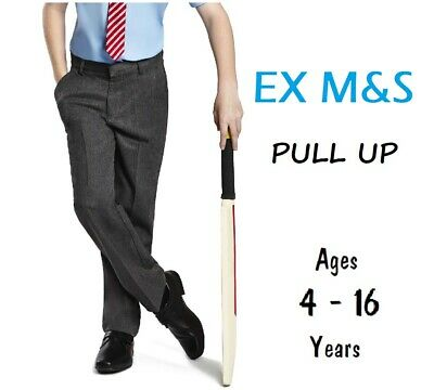 EX M&S Boys Regular School Trousers Easy Dress Pull Up Pull On Ages 2-16 YEARS