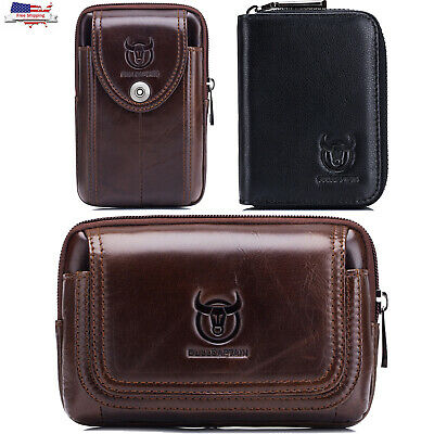 ​Men Wallet Genuine Leather Cell Phone Pouch Waist Belt Purse Credit Card Holder