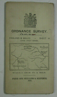 1913 Old OS Ordnance Survey One-Inch 3rd Ed Map 14 Barnard Castle Kirkby Stephen