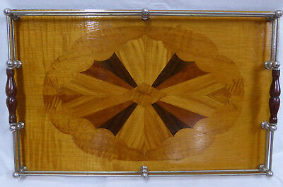 Large Inlaid Serving Tray with Chrome plated sides