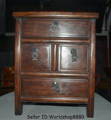 "15.6"" Antique Old China Huanghuali Wood Dynasty Palace 4 Drawer Desk Furniture"
